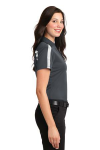 Steel Grey Wh Port Authority Ladies Silk Touch Performance Colorblock Stripe Polo as seen from the sleeveright