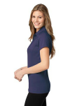 Purple Db Navy Port Authority Ladies Fine Stripe Performance Polo as seen from the sleeveleft