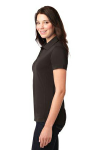 Choc Brown Port Authority Ladies 5-in-1 Performance Pique Polo as seen from the sleeveleft