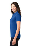 Cobalt Blue Port Authority Ladies 5-in-1 Performance Pique Polo as seen from the sleeveleft