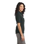 Slate Grey Port Authority Ladies Ultra Stretch Polo as seen from the sleeveright