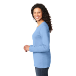 Light Blue Port & Company Ladies Long Sleeve 5.4-oz 100% Cotton T-Shirt as seen from the sleeveleft