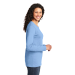 Light Blue Port & Company Ladies Long Sleeve 5.4-oz 100% Cotton T-Shirt as seen from the sleeveright