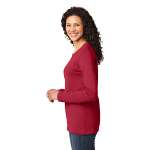 Red Port & Company Ladies Long Sleeve 5.4-oz 100% Cotton T-Shirt as seen from the sleeveleft