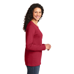 Red Port & Company Ladies Long Sleeve 5.4-oz 100% Cotton T-Shirt as seen from the sleeveright