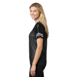 Black White Sport-Tek Ladies PosiCharge Replica Jersey as seen from the sleeveright