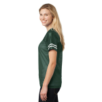 Forest Grn Wht Sport-Tek Ladies PosiCharge Replica Jersey as seen from the sleeveright