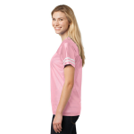 Lt Pink White Sport-Tek Ladies PosiCharge Replica Jersey as seen from the sleeveright