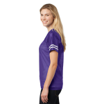 Purple White Sport-Tek Ladies PosiCharge Replica Jersey as seen from the sleeveright