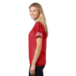 Tr Red White Sport-Tek Ladies PosiCharge Replica Jersey as seen from the sleeveright