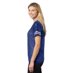 Tr Royal White Sport-Tek Ladies PosiCharge Replica Jersey as seen from the sleeveright