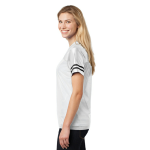 White Black Sport-Tek Ladies PosiCharge Replica Jersey as seen from the sleeveright