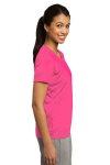 Neon Pink Sport-Tek Ladies Competitor Tee as seen from the sleeveright
