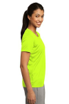 Neon Yellow Sport-Tek Ladies Competitor Tee as seen from the sleeveright