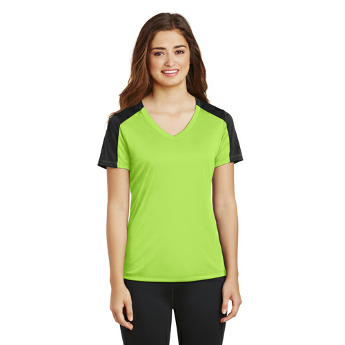 Sport-Tek® Ladies PosiCharge® Competitor™ Sleeve-Blocked V-Neck Tee.