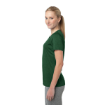 For Grn Hthr Sport-Tek Ladies Heather Contender Scoop Neck Tee as seen from the sleeveright