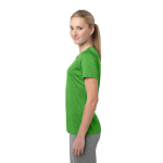 Turf Grn Hthr Sport-Tek Ladies Heather Contender Scoop Neck Tee as seen from the sleeveright