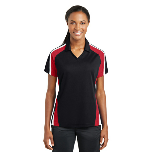 Sport-Tek Ladies Tricolor Micropique Sport-Wick Polo - Embroidered