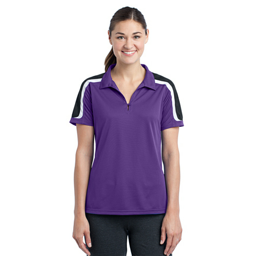 Sport-Tek Ladies Tricolor Shoulder Micropique Sport-Wick Polo - Embroidered