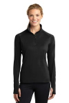 Black Sport-Tek Ladies Sport-Wick Stretch 1/2-Zip Pullover as seen from the front
