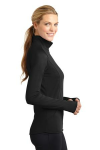 Black Sport-Tek Ladies Sport-Wick Stretch 1/2-Zip Pullover as seen from the sleeveright