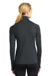 Charcoal Grey Sport-Tek Ladies Sport-Wick Stretch 1/2-Zip Pullover as seen from the back