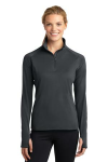 Charcoal Grey Sport-Tek Ladies Sport-Wick Stretch 1/2-Zip Pullover as seen from the front