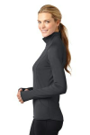 Charcoal Grey Sport-Tek Ladies Sport-Wick Stretch 1/2-Zip Pullover as seen from the sleeveleft