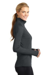 Charcoal Grey Sport-Tek Ladies Sport-Wick Stretch 1/2-Zip Pullover as seen from the sleeveright
