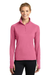 Dusty Rose Sport-Tek Ladies Sport-Wick Stretch 1/2-Zip Pullover as seen from the front