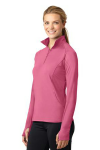 Dusty Rose Sport-Tek Ladies Sport-Wick Stretch 1/2-Zip Pullover as seen from the sleeveleft