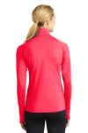 Hot Coral Sport-Tek Ladies Sport-Wick Stretch 1/2-Zip Pullover as seen from the back
