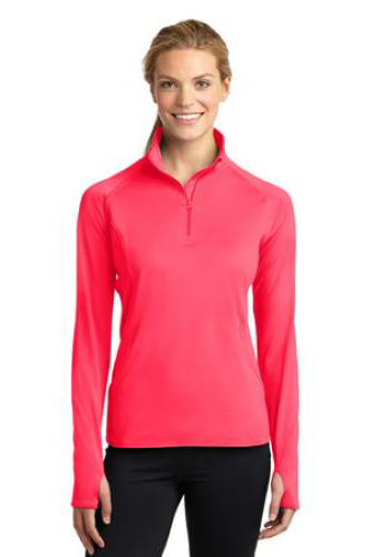 Hot Coral Sport-Tek Ladies Sport-Wick Stretch 1/2-Zip Pullover as seen from the front
