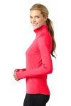Hot Coral Sport-Tek Ladies Sport-Wick Stretch 1/2-Zip Pullover as seen from the sleeveleft