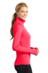 Hot Coral Sport-Tek Ladies Sport-Wick Stretch 1/2-Zip Pullover as seen from the sleeveright