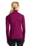 Pink Rush Sport-Tek Ladies Sport-Wick Stretch 1/2-Zip Pullover as seen from the back