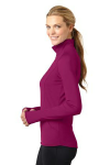 Pink Rush Sport-Tek Ladies Sport-Wick Stretch 1/2-Zip Pullover as seen from the sleeveleft