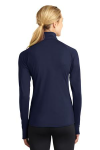 True Navy Sport-Tek Ladies Sport-Wick Stretch 1/2-Zip Pullover as seen from the back