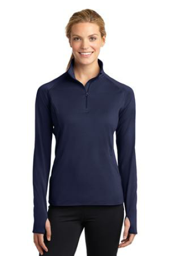 True Navy Sport-Tek Ladies Sport-Wick Stretch 1/2-Zip Pullover as seen from the front