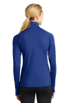 True Royal Sport-Tek Ladies Sport-Wick Stretch 1/2-Zip Pullover as seen from the back