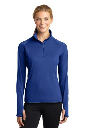 True Royal Sport-Tek Ladies Sport-Wick Stretch 1/2-Zip Pullover as seen from the front