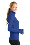 True Royal Sport-Tek Ladies Sport-Wick Stretch 1/2-Zip Pullover as seen from the sleeveright