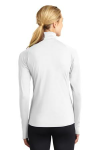 White Sport-Tek Ladies Sport-Wick Stretch 1/2-Zip Pullover as seen from the back