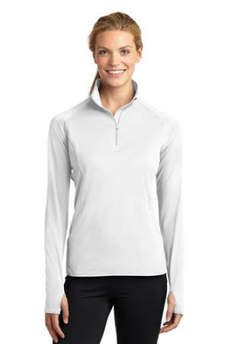 White Sport-Tek Ladies Sport-Wick Stretch 1/2-Zip Pullover as seen from the front