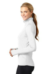 White Sport-Tek Ladies Sport-Wick Stretch 1/2-Zip Pullover as seen from the sleeveleft