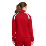 True Red White Sport-Tek Ladies Tricot Track Jacket as seen from the back