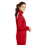 True Red White Sport-Tek Ladies Tricot Track Jacket as seen from the sleeveright