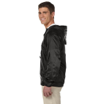 Black Packable Nylon Jacket as seen from the sleeveright