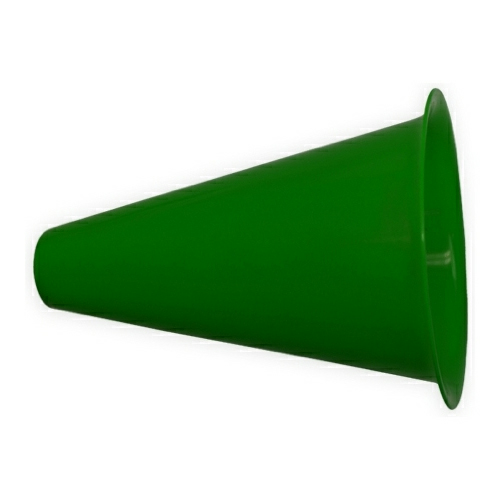 Dark Green Megaphone with Popcorn Cap as seen from the front