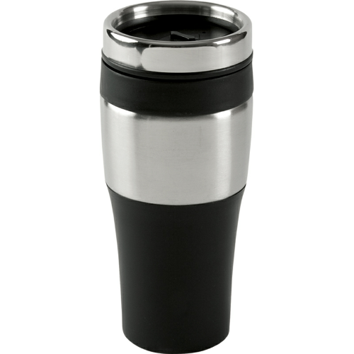 Black 16 oz. Silver Streak Tumbler as seen from the front